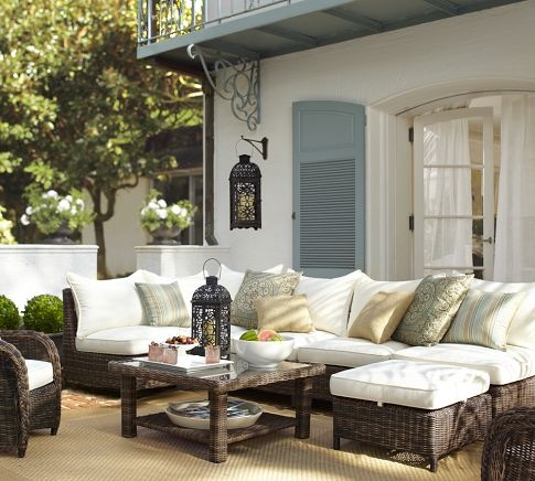 Woven Outdoor Furniture Mediterranean Deck Patio Pottery Barn