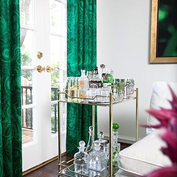 Emerald Green Drapes, Hollywood Regency, living room, Sally Wheat Interiors