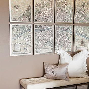 Alice Lane Home - living rooms - paris map, vintage Paris map, mocha paint, mocha walls, tufted bench, sequined pillow, gray sequined pillow, art gallery, french maps, vintage french maps,