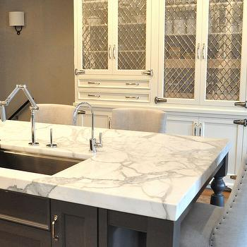 Statuario Marble Countertops- Transitional, kitchen, KItchen Lab