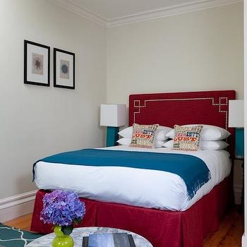 Red Headboard, Eclectic, bedroom, Rachel Reider Interiors