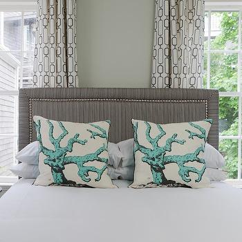 Gray Studded Headboard, Eclectic, bedroom, Rachel Reider Interiors