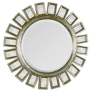 Mirrors - Carwyn Gold Finish Accented Mirror | Overstock.com - contemporary, gold, circular, mirror, beveled, round,