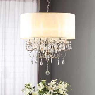 Lighting - Silver Mist Hanging Crystal Drum Shade Chandelier | Overstock.com - crystal, ivory, faux, silk, drum, shade, pendant, chandelier,