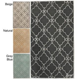 Rugs - Handmade Luna Easy Care Trellis Rug (5' x 8') | Overstock.com - handmade, trellis, rug, gray, beige, natural, blue,