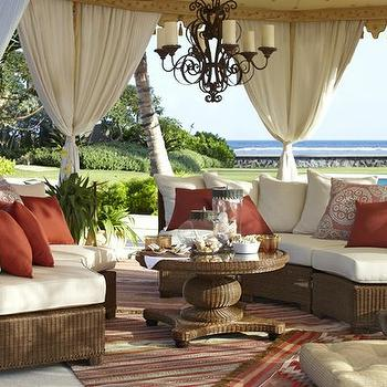 Pottery Barn - decks/patios - cabana, outdoor drapes, seagrass furniture, outdoor furniture, red pillows, stripe rug, patio tenting, outdoor patio tenting,