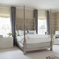Lichten Craig Architects - bedrooms - elegant bedroom, purple curtains, faux bois, faux bois wallpaper, metal bed, poster bed, lattice bed, skirted nightstands, crystal lamps, white slipcover chair, white hotel bedding, platinum gray bedding, ivory roman shades, skirted tables, skirted nightstands, ornate headboard, gray and purple bedroom, purple and gray bedroom,