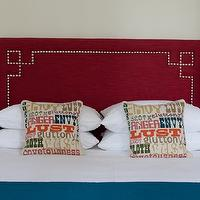 Rachel Reider Interiors - bedrooms - retro bedroom, red and blue, red and blue bedroom, teal lamps, peacock blue throw, red headboard, headboard nailhead trim, Greek key headboard, red Greek key headboard, studded headboard, red headboard with nailhead trim, nailhead headboard, blue and red bedroom, red velvet headboard, Jonathan Adler Sins Pillow,