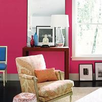 Kansas City Homes & Gardens - living rooms - pink living room, pink paint, neon pink, paint, French chair, bergere chair, white parsons coffee table, parsons table, cobalt blue, cobalt blue chair, square back chair, cobalt blue square back chair, chinoiserie garden stool, jute rug, red console tgable, red parsons console table, buddha, hot pink paint colors, hot pink wall paint, hot pink walls, hot pink paint, hot pink paint color,