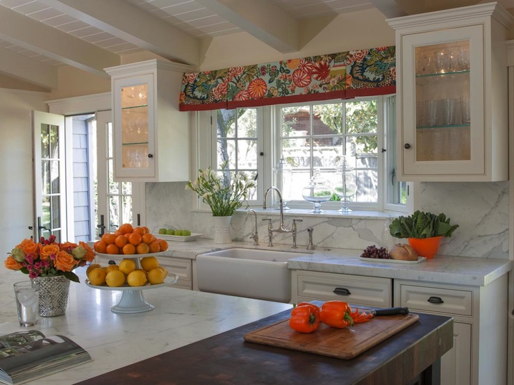 Chiang mai dragon valance transitional kitchen annie - Kitchen with orange accents ...