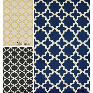 Rugs - Handmade Marrakesh Trellis Wool Rug (5' x 8') | Overstock.com - Marrakesh, trellis, wool, rug, blue, black, yellow, cream,