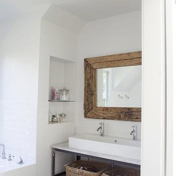 Heather A Wilson, Architect - bathrooms - attic bathroom, driftwood mirror, reclaimed wood mirror, metal washstand, double washstand, modern washstand, white vessel sink, white porcelain vessel sink, drop-in tub, bath niche, modern faucets, white subway tile backsplash, industrial washstand, industrial double washstand,