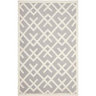 Rugs - Hand-woven Moroccan Dhurrie Grey Wool Rug (9' x 12') | Overstock.com - Moroccan, Dhurrie, gray, grey, wool, rug,
