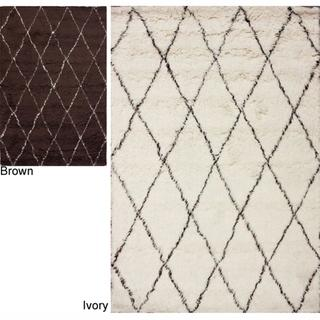Rugs - Handmade Moroccan Trellis Wool Shag Rug | Overstock.com - handmade, Mororccan, trellis, wool, shag, rug, brown, cream,