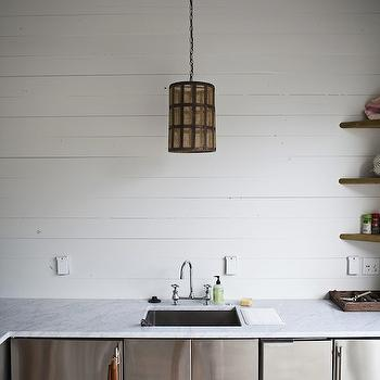 Heather A Wilson, Architect - decks/patios - wood plank walls, white wood panel walls, white wood paneling, white wood panels, stainless steel cabinets, marble countertops, bridge faucet, outdoor kitchen, stainless steel kitchen cabinets, outdoor kitchen cabinets,