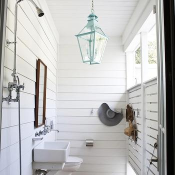 Heather A Wilson, Architect - decks/patios - outdoor shower, turquoise blue, turquoise blue lantern, white porcelain sink, outdoor shower, wall-mount faucet,