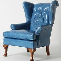 Seating - Howell Wingback, Leather - Anthropologie.com - blue, leather, wing-back, wing, chair, button, tufting,