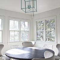 Heather A Wilson, Architect - dining rooms - turquoise blue, turquoise blue lantern, crossed legs dining table, round dining table, salvaged wood dining table, modern wingback chairs, linen dining chairs, gray dining chairs, wingback chairs, wingback dining chairs, gray dining chairs, gray wingback chairs, gray wingback dining chairs,