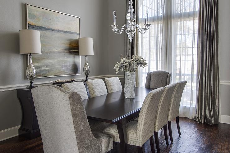 Gray dining room transitional dining room ej interiors for Grey dining room
