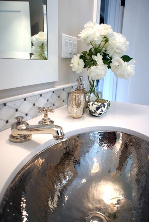 Hammered Metal Sink Transitional Bathroom Tamara