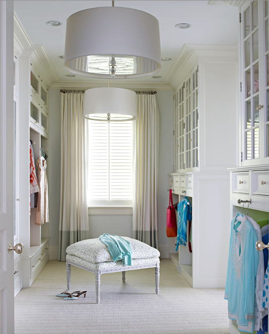 Brooks & Falotico - closets - Farrow & Ball - All White - Restoration Hardware Round Shade Pendant, banded drapes, ivory drapes, seafoam green banding, walk-in closet, white cabinets, glass-front cabinets, French ottoman, drum pendants, closet lighting, built-in cabinets, closet built-ins, closet built-in cabinets,