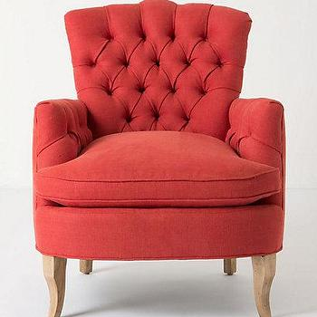 Seating - Marjorie Chair - Anthropologie.com - tufted, club, accent, chair, raspberry, red, terracotta,