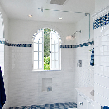 Subway Tile Shower, Cottage, bathroom, Tamara Mack Design
