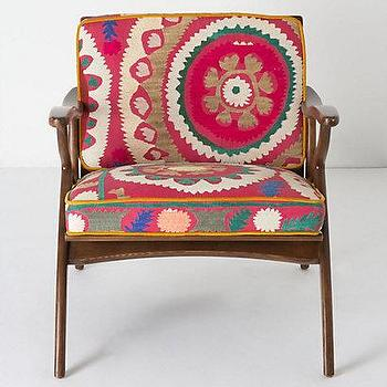 Seating - Inge Chair, Vintage Suzani - Anthropologie.com - danish, mid-century, modern, chair, vintage, suzani, textile, upholstery,