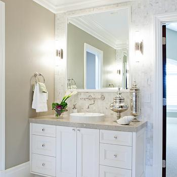 Mercury Glass Canisters, Transitional, bathroom, Elizabeth Kimberly Design