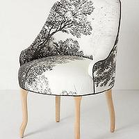 Seating - Handpainted Toile Pull-Up Chair - Anthropologie.com - handpainted, black, white, toile, pull-up, chair, accent, trees,
