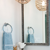 Tamara Mack Design - bathrooms - gray bathroom mirror, gray  mirror, beaded chandelier, beaded glass chandelier, blue towels, beachy accents, gray and blue bathroom, gray and blue bathroom design, gray and blue bathroom ideas,