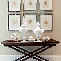 Elizabeth Kimberly Design - entrances/foyers - mocha walls, mocha paint, mirrored frames, botanical prints, art gallery, white canisters, tray table, tray console table, x-base console table, tray table wood tray table, x base tray table, x base console table,