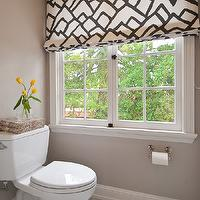 Tamara Mack Design - bathrooms: patterned roman shades, roman shades, water closet, gray paint color, gray bathroom, marble tiles, marble floor, gray water closets, gray bathroom, gray water closet,