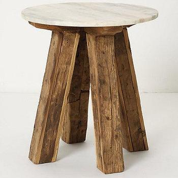 Tables - Genova Side Table - Anthropologie.com - reclaimed, wood, legs, sandblasted, white, marble, top, side, table, rustic,