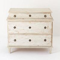 Tables - Carine Three Drawer Chest - Anthropologie.com - three, drawer, chest, whitewashed, pine,