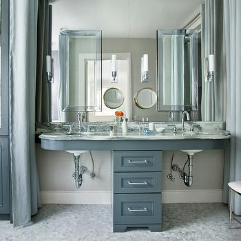 Mark Williams Design - bathrooms - charcoal gray cabinets, charcoal gray bathroom cabinets, antique mirror, antique mirror doors, gray paint, gray grommet drapes, carrara marble, carrara marble hex, carrara marble hex tiles, carrara marble hex floor, gray shower curtains, polished nickel vanity stool, vanity stool, beveled mirrors, gray double bathroom vanity, marble countertops, gray floating vanity, floating vanity, bathroom sconces, gray bathroom, gray bathroom cabinets, gray bathroom vanity, gray cabinets, gray bathroom cabinets, gray vanity, gray double vanity,