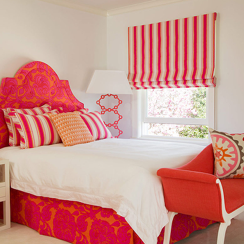 Amanda Nisbet Design - girl's rooms - red bedroom, red headboard, red flock headboard, red bed skirt, red bedroom, red girl's bedroom, candy stripe roman shade, red bench, abstract art, ivory nightstand, pink stripe pillows, candy stripe pillows, suzani pillow, red and orange girls room, red and orange girls bedroom,