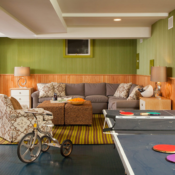 Amanda Nisbet Design - basements - retro, game room, basement game room, green grasscloth, grasscloth wallpaper, ping pong table, gray sectional solfa, cork ottomans, cork cube ottomans, soffits, pot lights recessed lights, stripe rug, wood paneling, wood panel walls, wood panels, retro basement, retro basement game room,