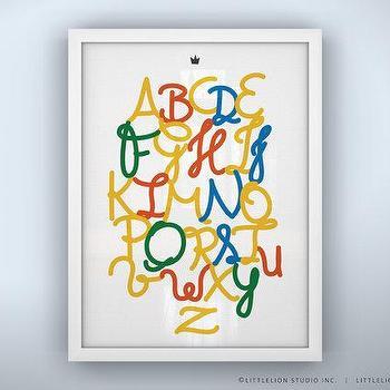 Art/Wall Decor - Alphabet Poster Royal Safari Unframed by LeoLittleLion on Etsy - alphabet, poster, print, art, yellow, red, green, blue,