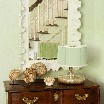 Amanda Nisbet Design - entrances/foyers - mint green foyer, green foyer, scalloped mirror, white scalloped mirror, vintage chest, mercury glass lamp, mint green lamp shade, beachy accents, mint green shade, mint green, Ballard Designs Atoll Rectangular Mirror,