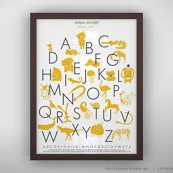 Art/Wall Decor - Animal Alphabet Poster Unframed by LeoLittleLion on Etsy - white, yellow, animal, alphabet, poster, print, nursery, kids,
