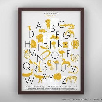 Art/Wall Decor - Animal Alphabet Poster Unframed by LeoLittleLion on Etsy - white, yellow, animal, alphabet, poster, print, nursery, kids,