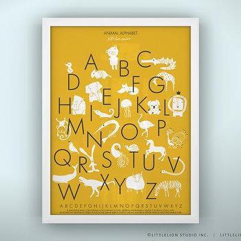 Art/Wall Decor - Animal Alphabet Poster Unframed by LeoLittleLion on Etsy - animal, alphabet, poster, print, yellow,