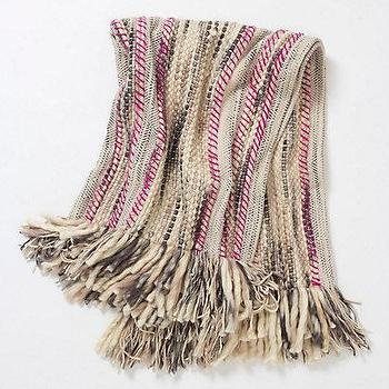 Bedding - Anaya Woven Throw - Anthropologie.com - gray, pink, beige, woven, throw, fringe,