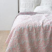 Bedding - Aviary Coverlet - Anthropologie.com - quilted, coverlet, birds, pink, coral, gray, lavendar,