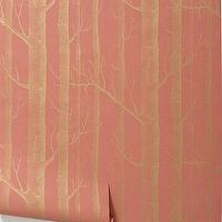 Wallpaper - Woods Wallpaper, Coral - Anthropologie.com - coral, gold, birch, tree, wood, wallpaper, metallic, pink,