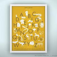 Art/Wall Decor - Animal Alphabet Poster Unframed by LeoLittleLion on Etsy - animal, alphabet, poster, print, yellow,
