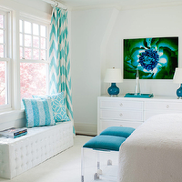 Amanda Nisbet Design - bedrooms - beachy bedroom, seaside bedroom, turquoise blue bedroom, white tufted bench, acrylic ottomans, turquoise blue, turquoise blue cushions, turquoise blue ottomans, white dresser, teal lamps, teal gourd lamps, peacock blue lamps, peacock blue gourd lamps, turquoise blue chevron drapes, chevron drapes, chevron curtains, lacquer tray, teal tray, turquoise drapes, turquoise curtains, turquoise window panels, turquoise chevron drapes, turquoise chevron curtains,