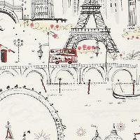 Wallpaper - C'est Magnifique Wallpaper - Anthropologie.com - retro, wallpaper, Europe, Paris, London, Venice, black, cream, red,