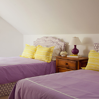 Amanda Nisbet Design - girl's rooms - purple girl's bedroom, purple bedroom, purple and yellow, yellow roman shade, roman shade, purple ribbon trim, purple headboards, yellow shams, aubergine gourd lamp, purple lamp, purple and yellow girl room, purple and yellow girls room, purple and yellow girl bedroom, purple and yellow girls bedroom,